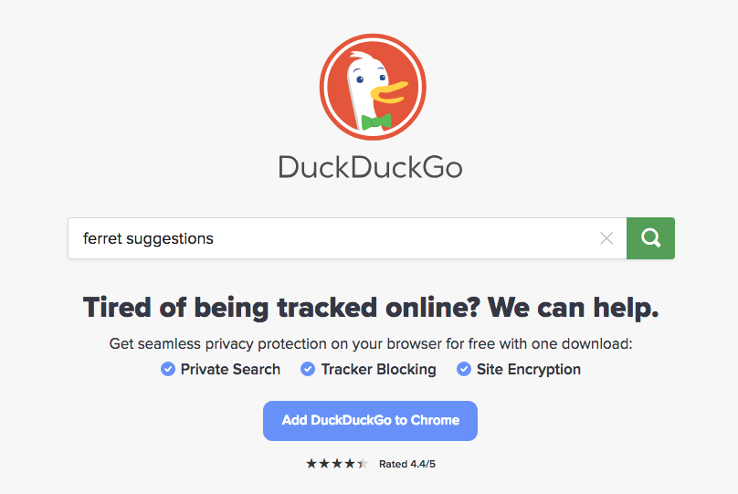 Home page of DuckDuckGo