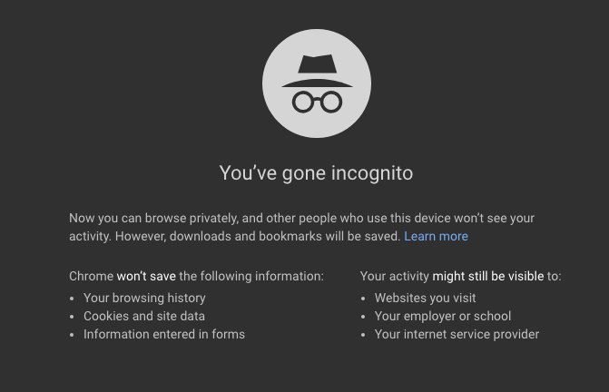 Incognito Mode on Google Chrome