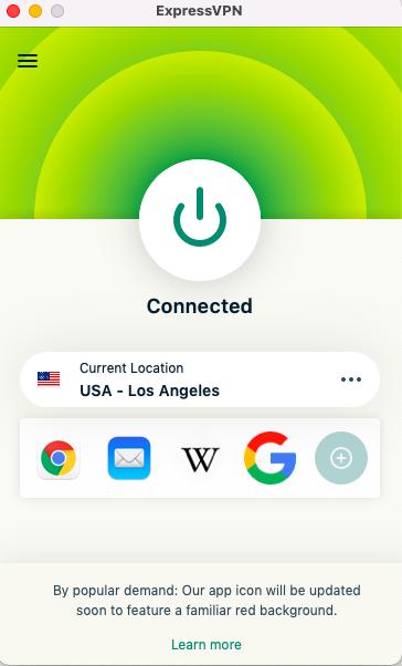 screenshot of the expressvpn desktop client