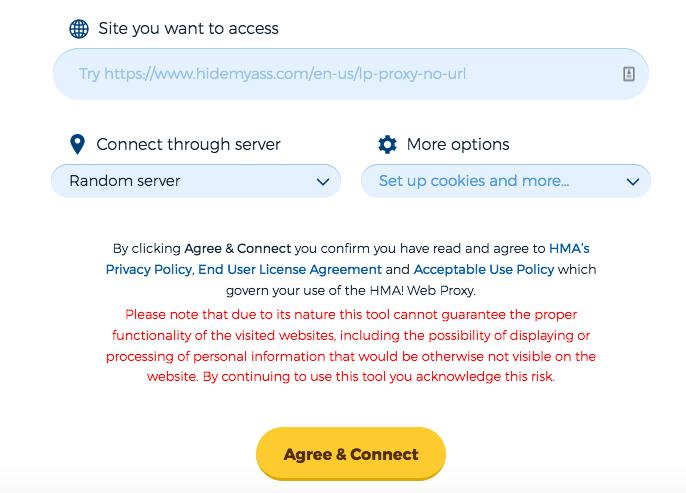 screenshot of the hidemyass proxy