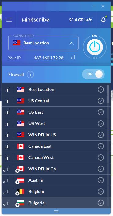 screenshot of the windscribe desktop client