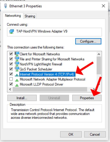 trouble shooting nordvpn netflix dns windows ipv4
