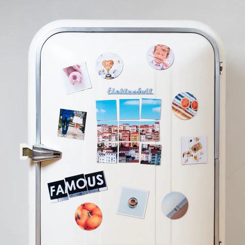 fridge with artwork