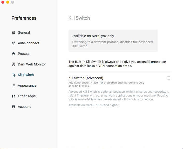 kill switch feature window