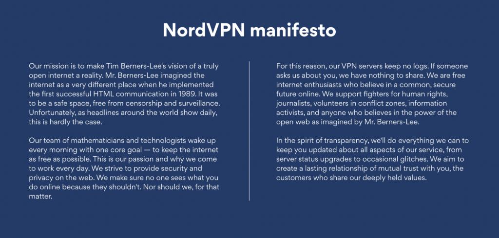 nordvpn manifesto