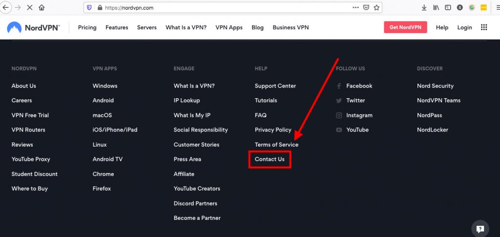 Nord VPN contact us