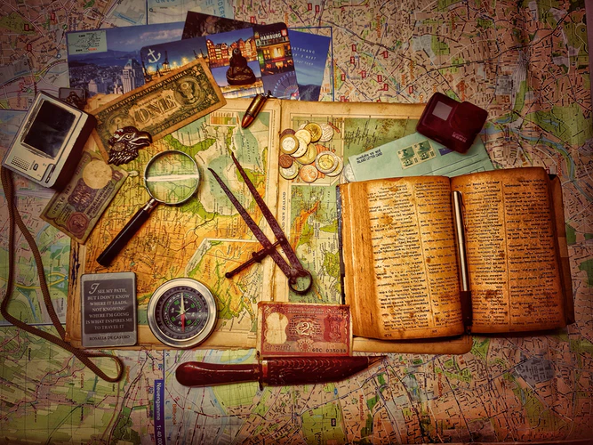 map with treasure hunting gear
