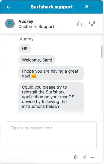 Surfshark VPN live chat