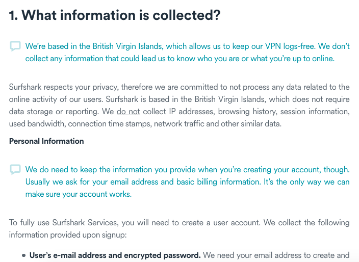Surfshark VPN privacy policy