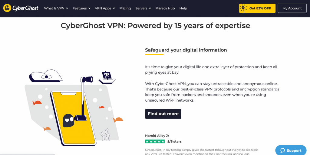 CyberGhost home page