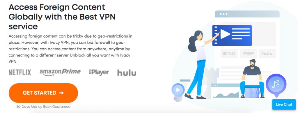 Ivacy VPN landing page