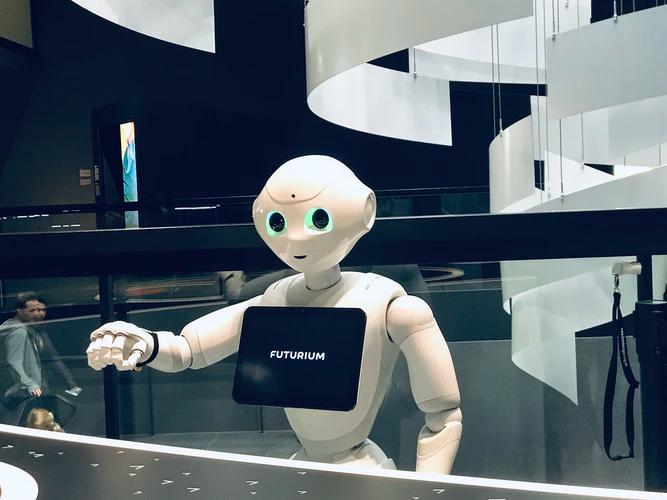 white robot behind counter