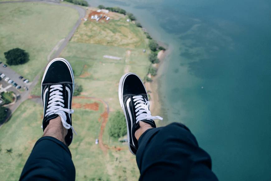 skydiving pov shot