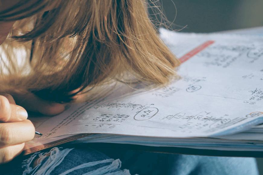 student with math homework